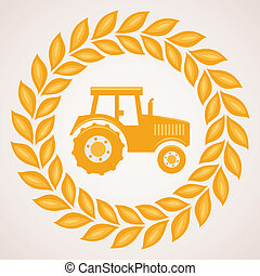 vector design of wheat border with symbol of tractor inside