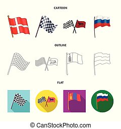 Vector design of world and flag icon. Set of world and ribbon stock symbol for web.