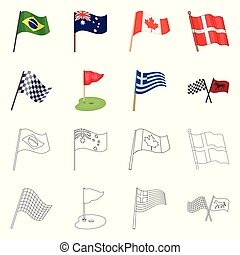 Vector design of world and flag symbol. Collection of world and ribbon stock symbol for web.