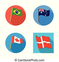 Vector design of world and flag symbol. Collection of world and ribbon vector icon for stock.