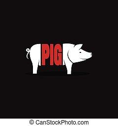 Vector design pig is text on black background. Logo, Symbol