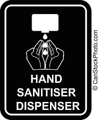 Vector design sign of hand sanitiser dispenser pump with...