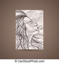 Vector design template with beautiful girl head on crumpled paper. Brochure and background. Black and White.