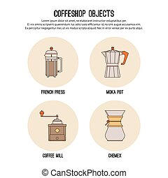 Vector design template with thin line icons of coffeeshop. Flat graphic.