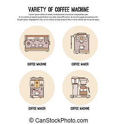 Vector design template with thin line icons of list Professional coffee machines. Equipment for  shop, cafe and restaurant. Flat  graphic