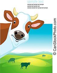 vector design with cow and landscap