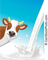 vector design with cow and pouring