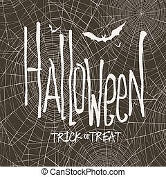 Vector design with hand drawn halloween illustration. Vintage background for halloween on black background. Halloween template. Spider web and bats