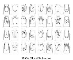 vector, designs., illustratie, spijker, fruit, gevarieerd