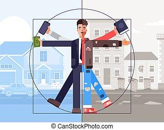 vector, desigualdad, ilustración, mismo, pobre, social, tiempo