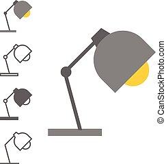 Vector desktop lamp icon set, flat