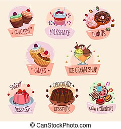 Vector dessert icons for bakery shop