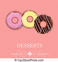 Vector dessert menu in Valentine`s day style