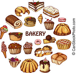 Vector desserts elements in hand drawn style. Delicious food. Art illustration. Sweet pastry for your design in cafe menu, posters, brochures