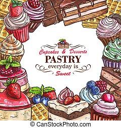 Vector desserts pastry shop sketch poster - Pastry shop...