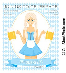 Vector detailed flat illustration of oktoberfest party invitation with bavarian girl in national dress holding two beer mugs on rhombic oktoberfest background