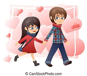 vector detailed flat illustration of walking holding hands couple on hearts background
