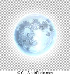 Vector detailed full moon a transparent background