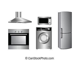 detailed household appliances icons - Vector detailed...