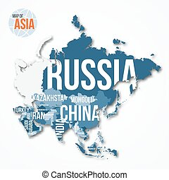 Vector detailed map of Asia