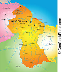 Guyana - Vector detailed map of Guyana country