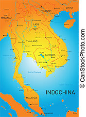 Indochina - Vector detailed map of Indochina countries