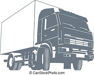 Vector detailed truck silhouette. EPS-8