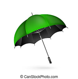 Vector detailed umbrella icon. Green color