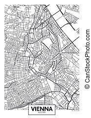 vector, detallado, ciudad, viena, mapa, cartel