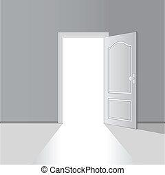 vector, deur, geopend