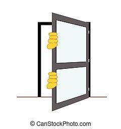 vector, deur, illustratie, handen