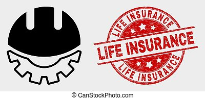 Vector Development Helmet Icon and Grunge Life Insurance Stamp Seal