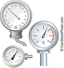 Vector devices faces: manometer, thermometer, pressure gauge...