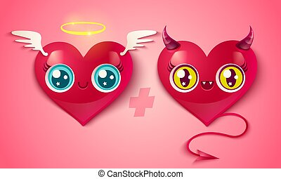 devil and angel hearts