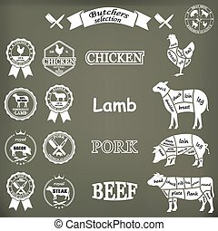 vector diagram cut carcasses of chicken, pig, cow, lamb.