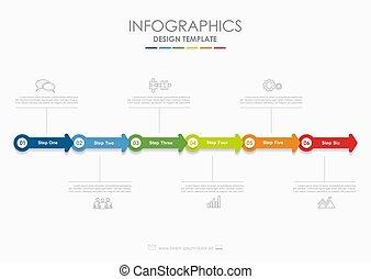 vector, diagram, gebruikt, illustration., zakelijk, workflow, opties, opmaak, stap, infographic, web, spandoek, template., design.