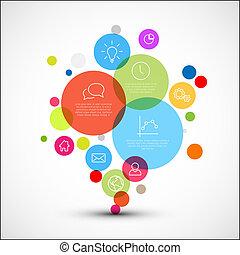 Vector diagram infographic template with various descriptive circles
