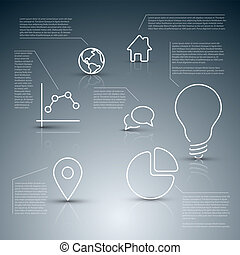 Vector diagram infographic template with various descriptive icons
