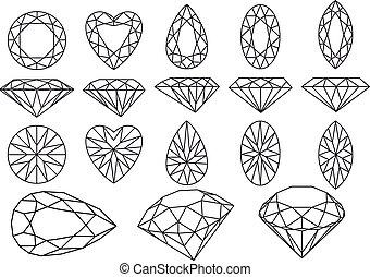 vector, diamant, set