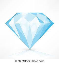 vector, diamant, vrijstaand, illustratie, white.