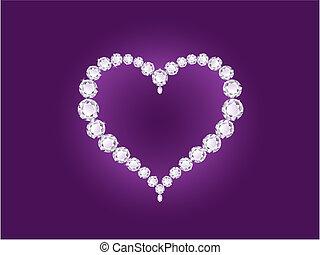 vector, diamante, corazón, en, violeta, plano de fondo