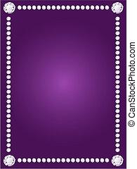 Vector shiny diamond frame on violet background