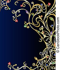 Vector diamond gold jewerly vertical background