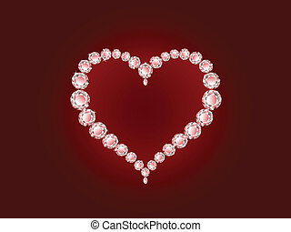 Vector diamond heart on red background