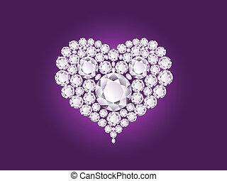 Vector diamond heart - Vector shiny diamond heart on purple...