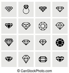 Vector diamond icon set on grey background