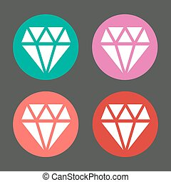 Vector diamond in colorful circles icons set
