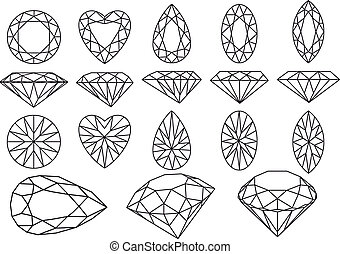 vector diamond set - set of diamonds and gemstones, vector...