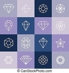 Vector diamonds and gems linear icons and logo design...