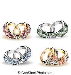 vector, diamonds., conjunto, anillos, boda